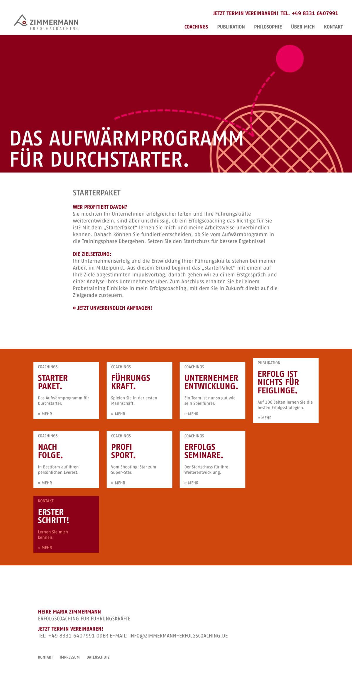Zimmermann Erfolgscoaching Website Screenshot.
