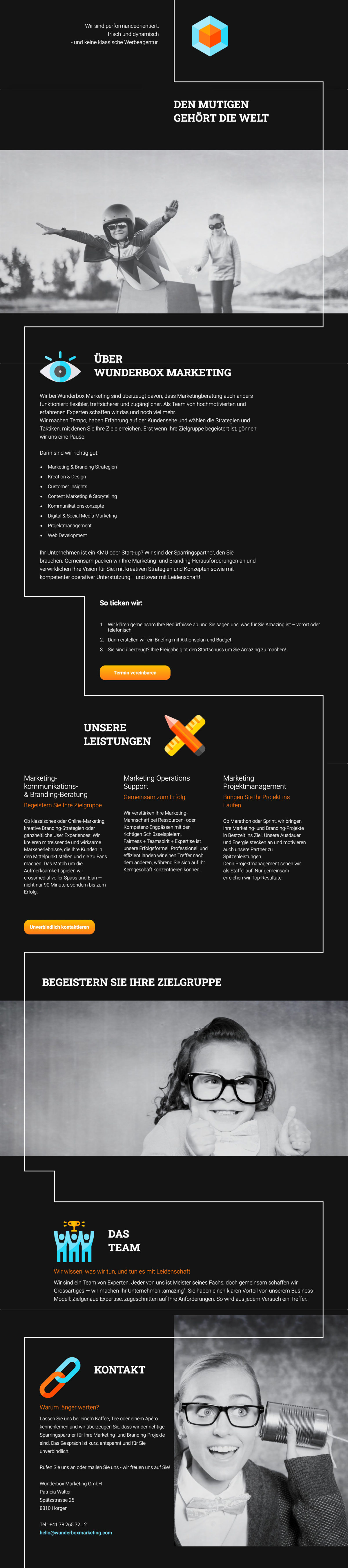 Wunderbox Marketing Website Screenshot.